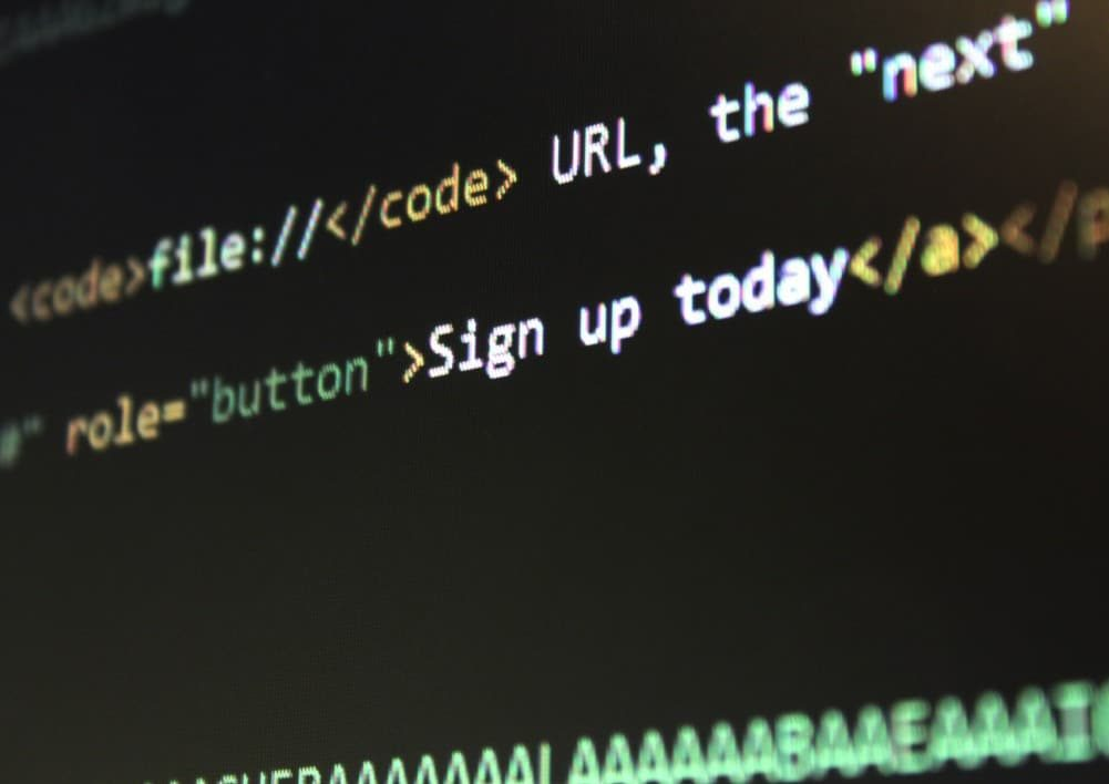 Monitor showing code